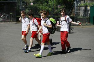 students playing sport